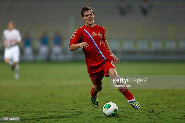 Alexander Kokorin of Russia in action during the International Football match between Serbia and Russia at the Zabeel Stauduim on November 15 2013 in...