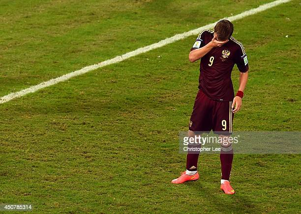 Alexander Kokorin of Russia reacts after a missed chance during the 2014 FIFA World Cup Brazil Group H match between Russia and South Korea at Arena...