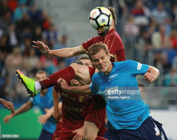 Alexander Kokorin of Zenit in action during the Russian Football Premier League match between Zenit St Petersburg vs Rubin Kazan at SaintPetersburg...
