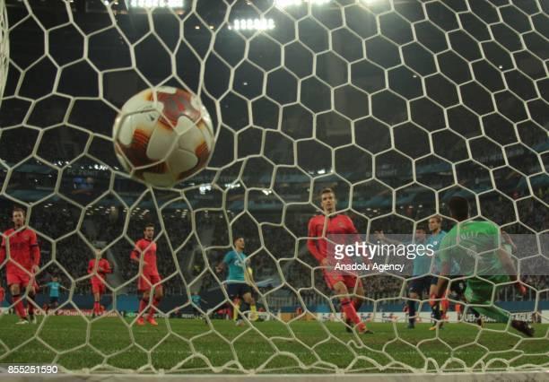 Alexander Kokorin of Zenit St Petersburg celebrates after scores a goal during the UEFA Europa League Group L football match between Zenit St...
