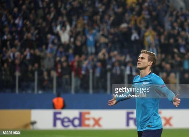 Alexander Kokorin of Zenit St Petersburg celebrates after scoring a goal during the UEFA Europa League Group L football match between Zenit St...