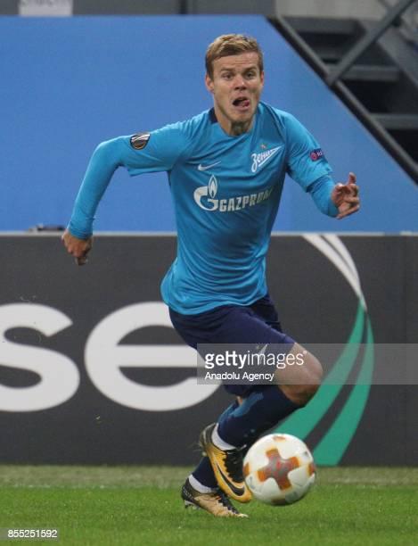Alexander Kokorin of Zenit St Petersburg in action during the UEFA Europa League Group L football match between Zenit St Petersburg and Real Sociedad...