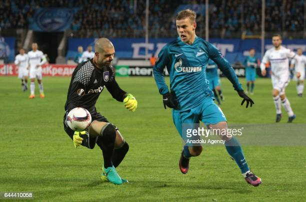 Alexander Kokorin of Zenit StPetersburg in action against Ruben Martinez of RSC Anderlecht during Europa League Round of 32 football match between...