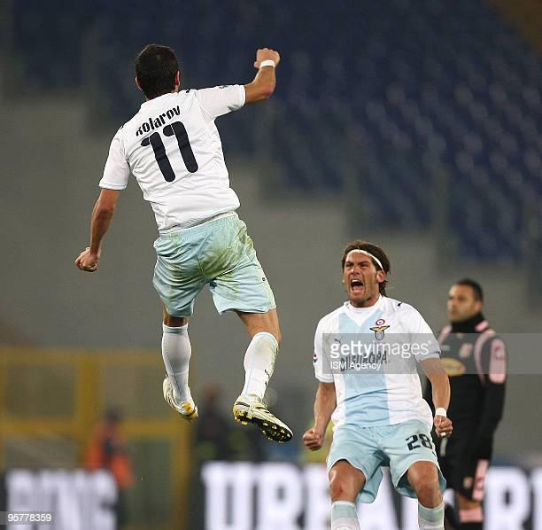 Alexander Kolarov and Guglielmo Stendardo of SS Lazio celebrate the opening goal during the Tim Cup between Lazio and Palermo at Olimpico Stadium on...