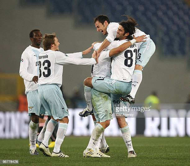 Alexander Kolarov Guglielmo Stendardo Simone Del Nero and Stefan Radu Roberto Baronio and Modibo Diakite' of SS Lazio celebrate the opening goal...