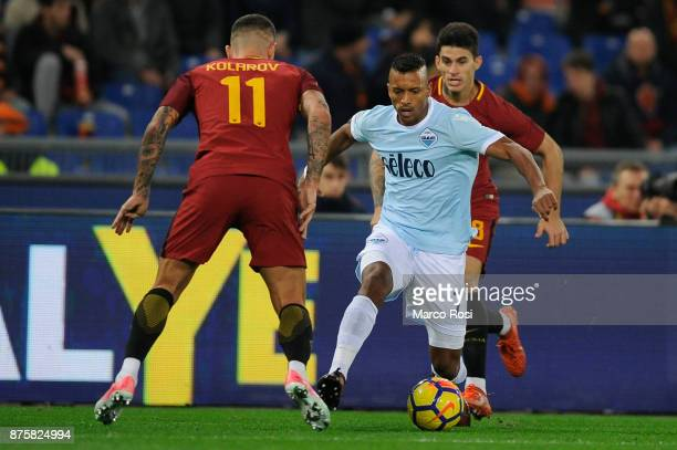 Alexander Kolarov of AS Roma compete for the ball with Luis Nani of SS Lazio during the Serie A match between AS Roma and SS Lazio at Stadio Olimpico...