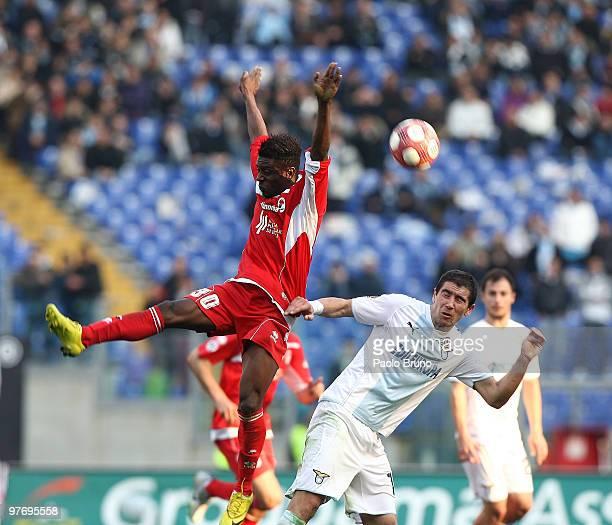Alexander Kolarov of SS Lazio and Alvarez of AS Bari in action during the Serie A match between SS Lazio and AS Bari at Stadio Olimpico on March 14...