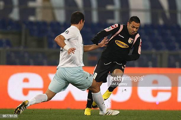 Alexander Kolarov of SS Lazio and Fabrizio Miccoli of US citta' di Palermo in action during the Tim Cup between Lazio and Palermo at Olimpico Stadium...