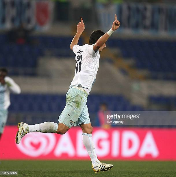 Alexander Kolarov of SS lazio celebrates the opening goal during the Tim Cup between Lazio and Palermo at Olimpico Stadium on January 14 2010 in Rome...