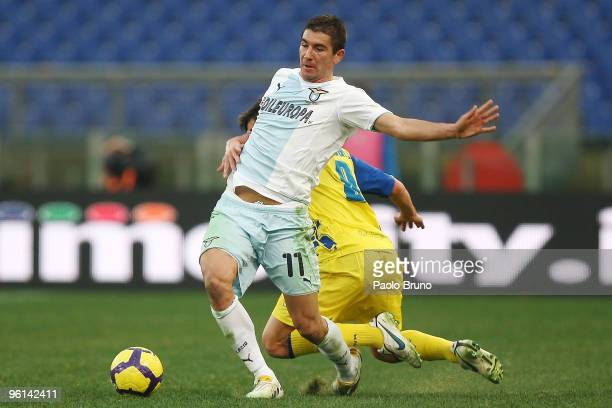 Alexander Kolarov of SS Lazio in action during the Serie A match between Lazio and Chievo at Stadio Olimpico on January 24 2010 in Rome Italy