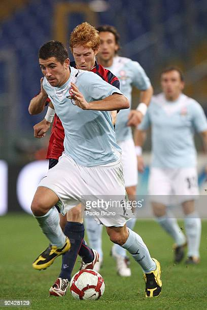 Alexander Kolarov of SS Lazio in action during the Serie A match between SS Lazio and Cagliari Calcio at Stadio Olimpico on October 28 2009 in Rome...