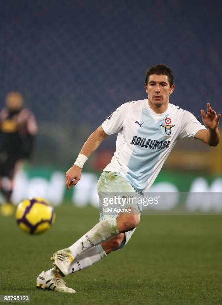 Alexander Kolarov of SS Lazio in action during the Tim Cup between Lazio and Palermo at Olimpico Stadium on January 14 2010 in Rome Italy