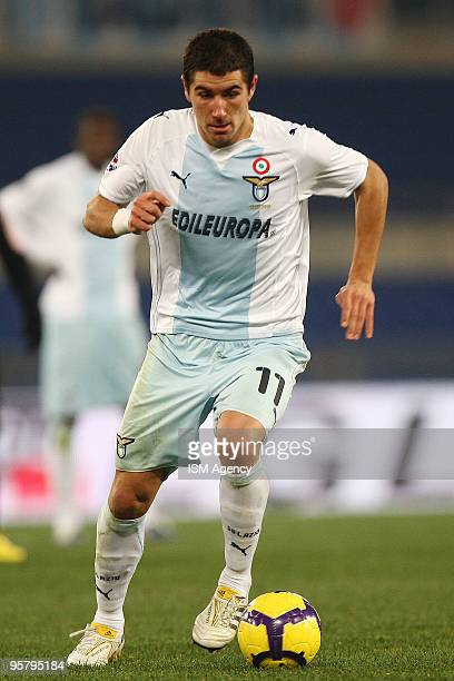 Alexander Kolarov of SS Lazio runs with the ball during the Tim Cup between Lazio and Palermo at Olimpico Stadium on January 14 2010 in Rome Italy