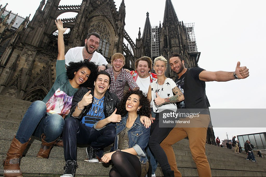 Alexander Kowalski, Meike Weber, Samantha Berger, Anna Kowallski, Nick Jankowsky, Joleen Daatis, Maximilian Hofstetter and Diego Cortez attend the 'Koeln 50667' Press Conference at the Kunstbar on November 23, 2012 in Cologne, Germany.