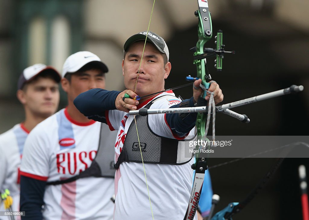 Alexander Kozhin of Russia shoots during the Men's Recurve Gold medal team match at the European Archery Championship on May 29, 2016 in Nottingham, England.