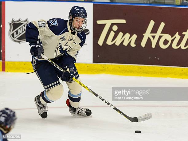 Alexander Krief of the Sherbrooke Phoenix skates the puck during the QMJHL game against the BlainvilleBoisbriand Armada at the Centre d'Excellence...