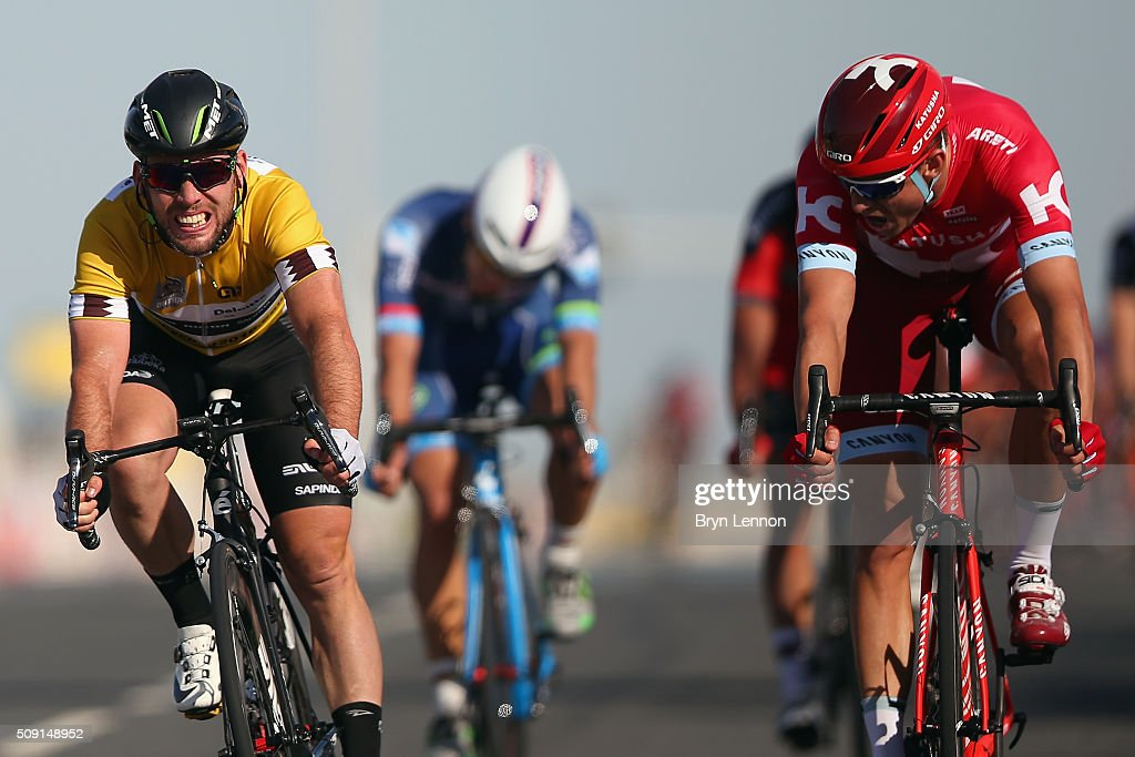 <a gi-track='captionPersonalityLinkClicked' href=/galleries/search?phrase=Alexander+Kristoff&family=editorial&specificpeople=6165249 ng-click='$event.stopPropagation()'>Alexander Kristoff</a> of Norway and Team Katusha beats <a gi-track='captionPersonalityLinkClicked' href=/galleries/search?phrase=Mark+Cavendish&family=editorial&specificpeople=684957 ng-click='$event.stopPropagation()'>Mark Cavendish</a> of Great Britain and Dimension Data to the finishline to win stage two of the 2016 Tour of Qatar from Qatar University to Qatar Univeristy on February 9, 2016 in Doha, Qatar. The stage also serves as a test event for the World Road Race Championships which will be held in Doha in October.