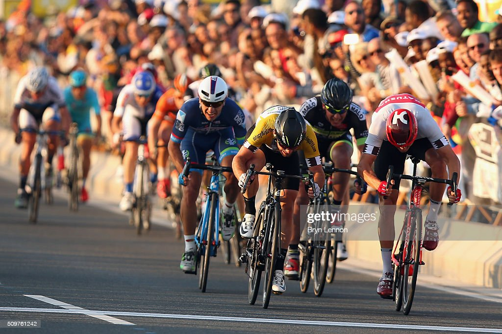 <a gi-track='captionPersonalityLinkClicked' href=/galleries/search?phrase=Alexander+Kristoff&family=editorial&specificpeople=6165249 ng-click='$event.stopPropagation()'>Alexander Kristoff</a> (r) of Norway and Team Katusha beats <a gi-track='captionPersonalityLinkClicked' href=/galleries/search?phrase=Mark+Cavendish&family=editorial&specificpeople=684957 ng-click='$event.stopPropagation()'>Mark Cavendish</a> of Great Britain and Dimension Data to the finishline on stage five of the 2016 Tour of Qatar, a 114.5km road stage from Sealine Beach Resort to Doha Corniche, on February 12, 2016 in Doha, Qatar