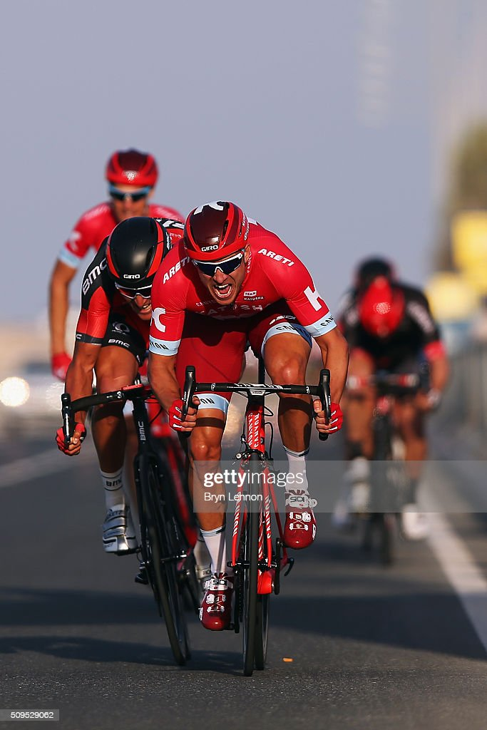 <a gi-track='captionPersonalityLinkClicked' href=/galleries/search?phrase=Alexander+Kristoff&family=editorial&specificpeople=6165249 ng-click='$event.stopPropagation()'>Alexander Kristoff</a> of Norway and Team Katusha celebrates winning stage four of the 2016 Tour of Qatar, a 189km road stage from Al Zuberah Fort to Madinat Al Shama on February 11, 2016 in Madinat Al Shamal, Qatar.