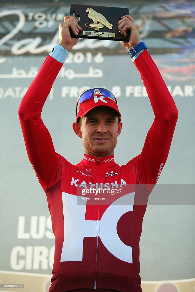 <a gi-track='captionPersonalityLinkClicked' href=/galleries/search?phrase=Alexander+Kristoff&family=editorial&specificpeople=6165249 ng-click='$event.stopPropagation()'>Alexander Kristoff</a> of Norway and Team Katusha celebrates winning stage four of the 2016 Tour of Qatar, a 189km road stage from Al Zuberah Fort to Madinat Al Shamal on February 11, 2016 in Madinat Al Shamal, Qatar.