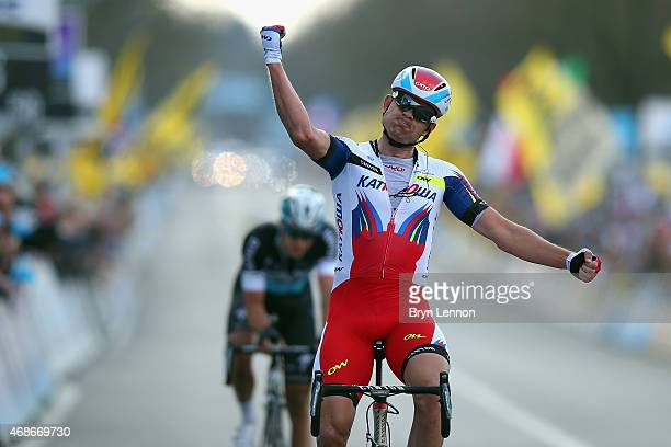 Alexander Kristoff of Norway and Team Katusha celebrates winning the 2015 Tour of Flanders from Bruges to Oudenaarde on April 5 2015 in Oudenaarde...