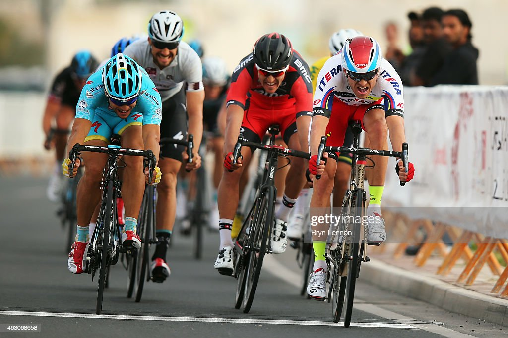<a gi-track='captionPersonalityLinkClicked' href=/galleries/search?phrase=Alexander+Kristoff&family=editorial&specificpeople=6165249 ng-click='$event.stopPropagation()'>Alexander Kristoff</a> of Norway and Team Katusha crosses the finishline to win stage two of the 2015 Tour of Qatar, a 187km stage from Al Wakra to Al Khor Corniche, on February 9, 2015 in Doha, Qatar.