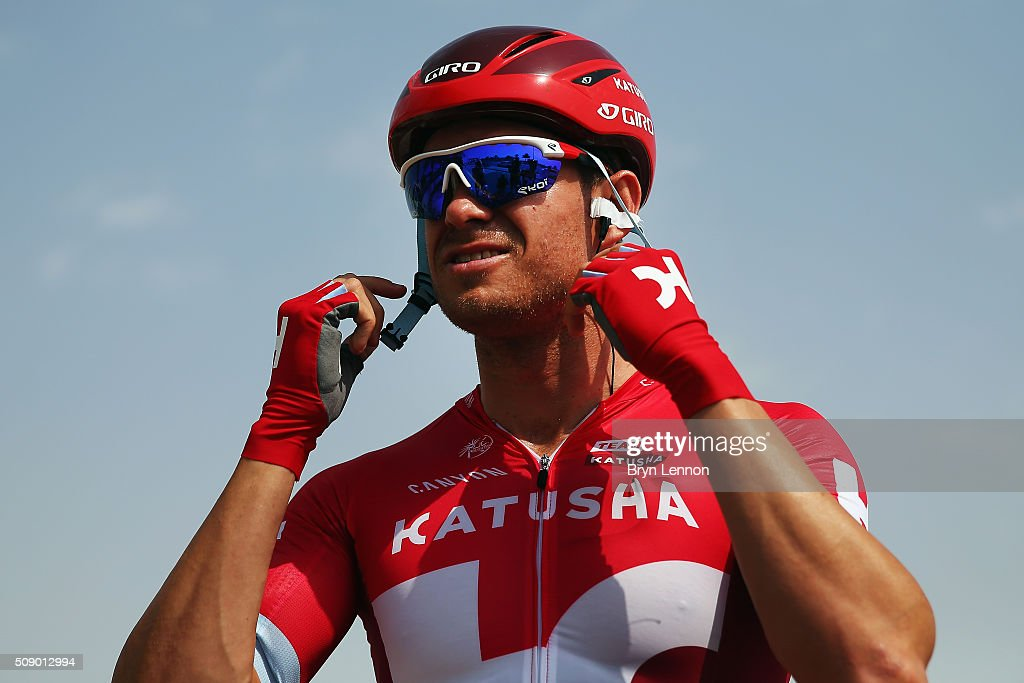<a gi-track='captionPersonalityLinkClicked' href=/galleries/search?phrase=Alexander+Kristoff&family=editorial&specificpeople=6165249 ng-click='$event.stopPropagation()'>Alexander Kristoff</a> of Norway and Team Katusha prepares for the start of stage one of the 2016 Tour of Qatar, a 176.5km road stage from Durkhan to Al Khor Corniche on February 8, 2016 in Durkhan, Qatar.
