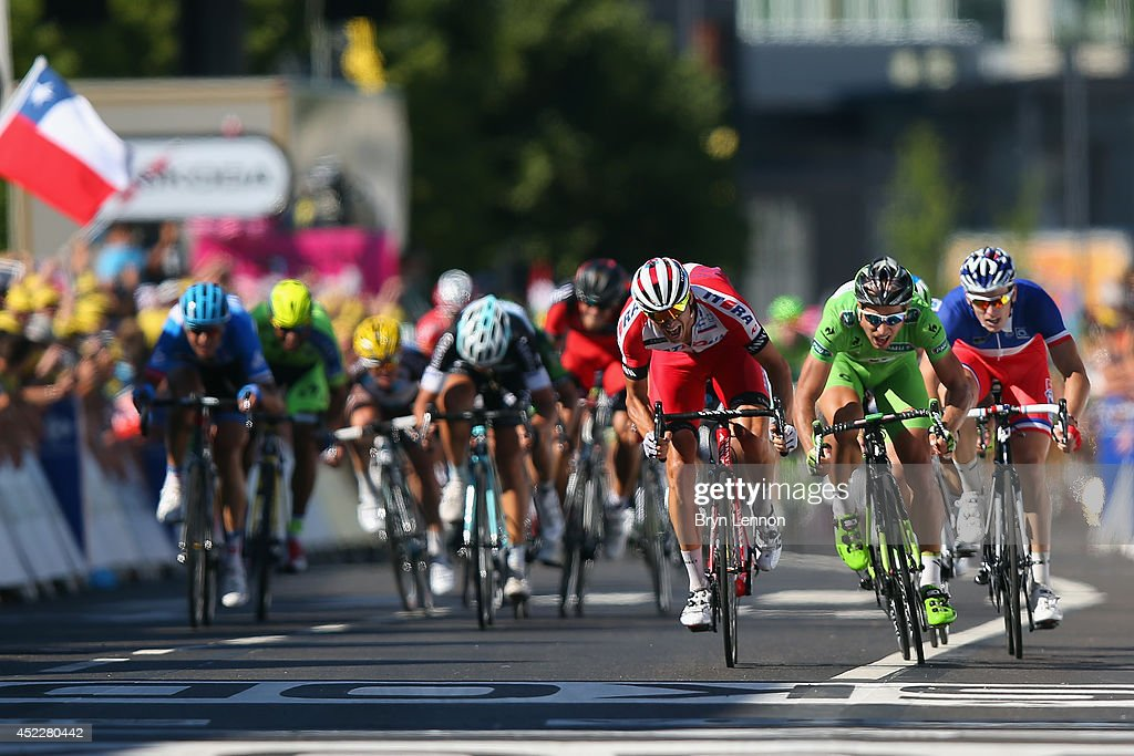 Alexander Kristoff of Norway and Team Katusha sprints for the finish line on his way to winning stage twelve of the 2014 Tour de France a 186km stage...