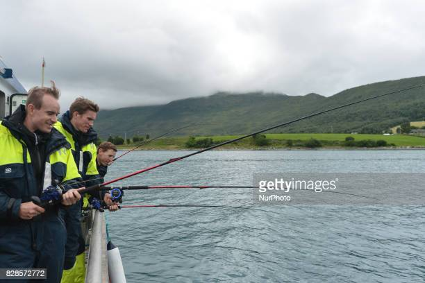Alexander Kristoff Yoann Offredo and Dylan Teuns during a Top Riders media fishing trip on the eve of the opening stage of the Arctic Race of Norway...