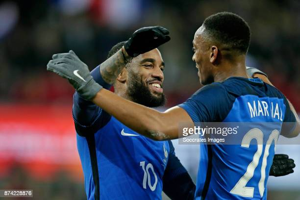 Alexander Lacazette of France celebrates with Anthony Martial of France during the International Friendly match between Germany v France at the...