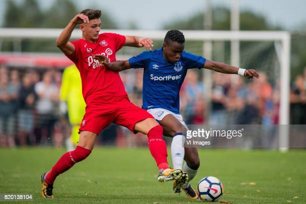 Alexander Laukart of FC Twente Leighton Baines of Everton FC during the friendly match between FC Twente and Everton FC at sportpark De Stockakker on...