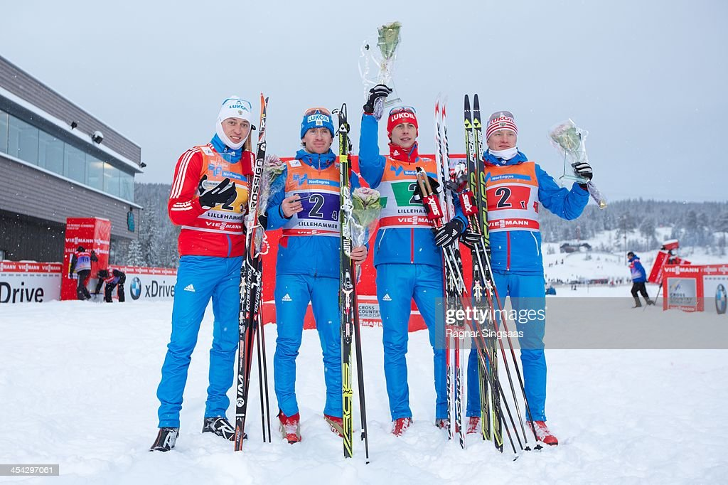 Alexander Legkov, Maxim Vylegzhanin, Alexander Bessmertnykh and Dmitriy Japarov of Russia take 1st place during the FIS Cross-Country World Cup Men's Relay on December 8, 2013 in Lillehammer, Norway.