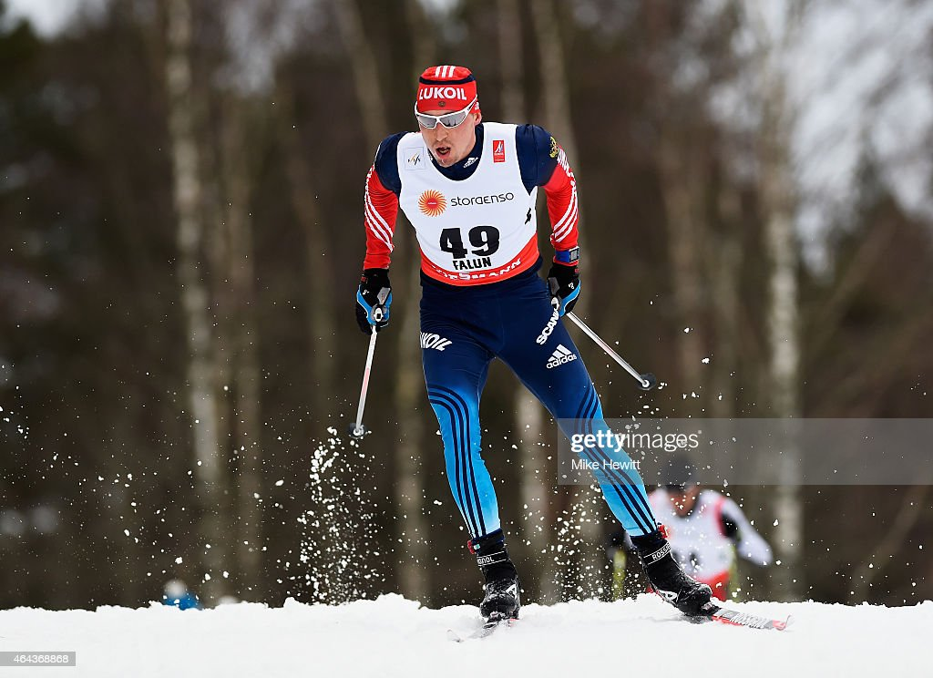 <a gi-track='captionPersonalityLinkClicked' href=/galleries/search?phrase=Alexander+Legkov&family=editorial&specificpeople=4037875 ng-click='$event.stopPropagation()'>Alexander Legkov</a> of Russia competes during the Men's 15km Cross-Country during the FIS Nordic World Ski Championships at the Lugnet venue on February 25, 2015 in Falun, Sweden.