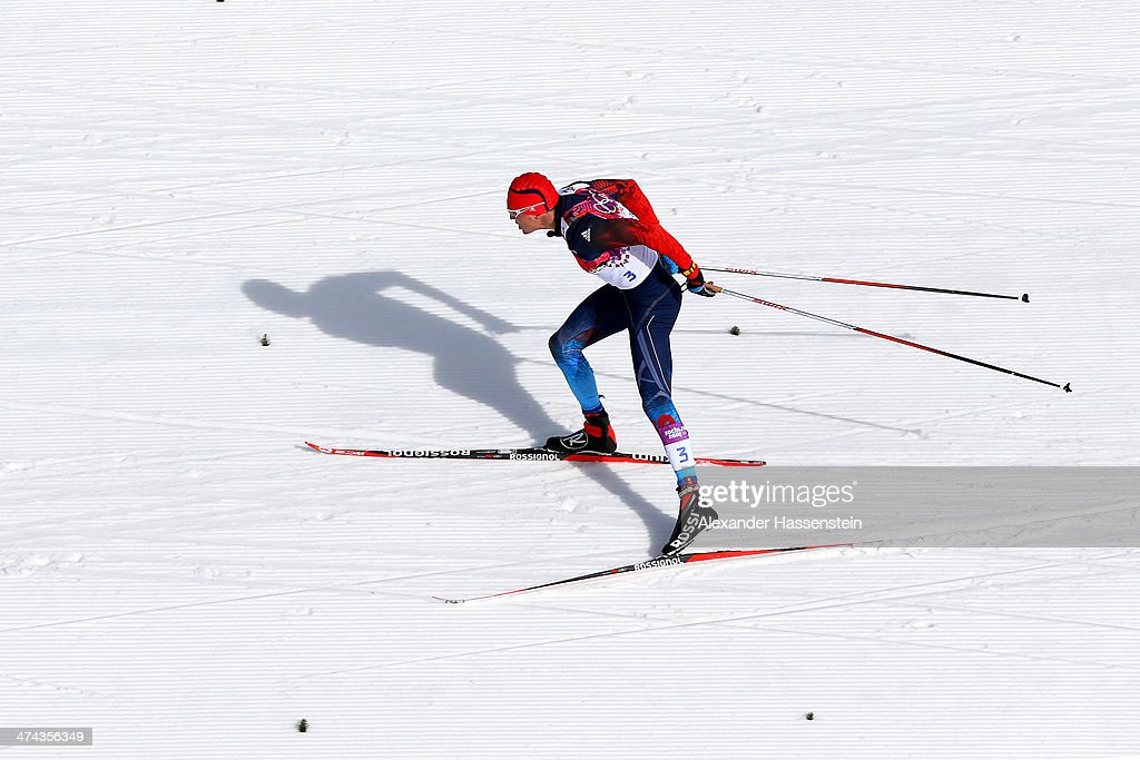 Alexander Legkov of Russia competes in the Men's 50 km Mass Start Free during day 16 of the Sochi 2014 Winter Olympics at Laura Cross-country Ski & Biathlon Center on February 23, 2014 in Sochi, Russia.