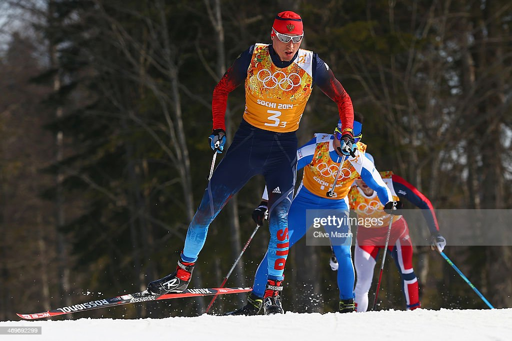 <a gi-track='captionPersonalityLinkClicked' href=/galleries/search?phrase=Alexander+Legkov&family=editorial&specificpeople=4037875 ng-click='$event.stopPropagation()'>Alexander Legkov</a> of Russia competes on the third leg of the Cross Country Men's 4 x 10 km Relay during day nine of the Sochi 2014 Winter Olympics at Laura Cross-country Ski & Biathlon Center on February 16, 2014 in Sochi, Russia.