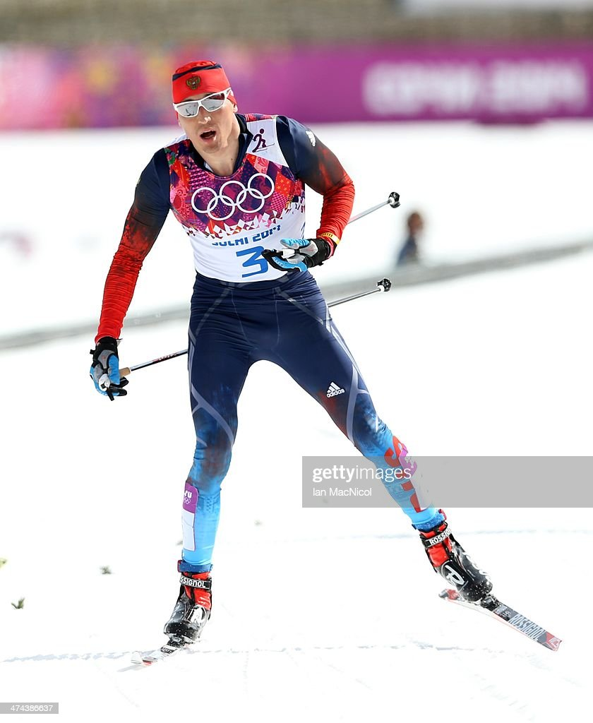 Alexander Legkov of Russia crosses the finish line to win the Men's 50km Mass Start on Day 16 of the Sochi 2014 Winter Olympics at Laura Cross-country Ski & Biathlon Center on February 23, 2014 in Sochi, Russia.