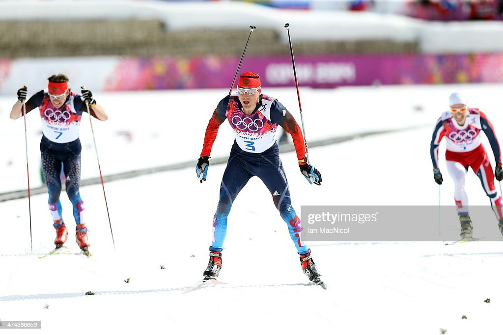 Alexander Legkov of Russia crosses the finish line to win the Men's 50km Mass Start Free on Day 16 of the Sochi 2014 Winter Olympics at Laura Cross-country Ski & Biathlon Center on February 23, 2014 in Sochi, Russia.