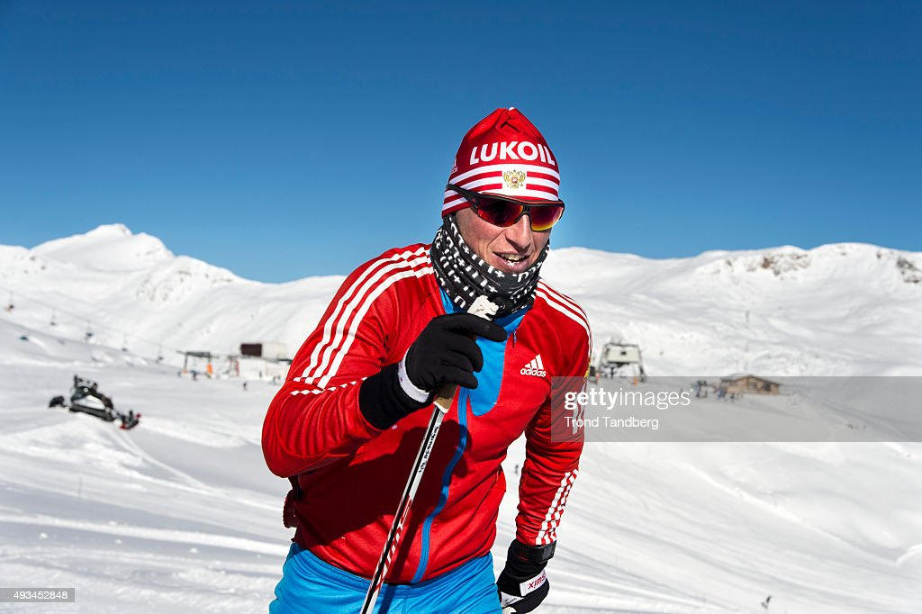 <a gi-track='captionPersonalityLinkClicked' href=/galleries/search?phrase=Alexander+Legkov&family=editorial&specificpeople=4037875 ng-click='$event.stopPropagation()'>Alexander Legkov</a> of Russia during a training session on the glacier in Maso Corto Val Senales on October 20, 2015 in Val Senales, Italy.