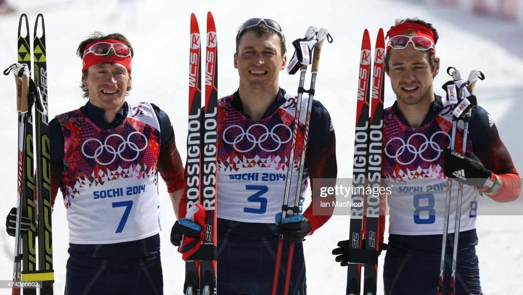 Alexander Legkov of Russia(C) Maxim Vylegzhanin of Russian (L) and Ilia Chernousov of Russia (R) pose after the Men's 50km Mass Start Free on Day 16 of the Sochi 2014 Winter Olympics at Laura Cross-country Ski & Biathlon Center on February 23, 2014 in Sochi, Russia.