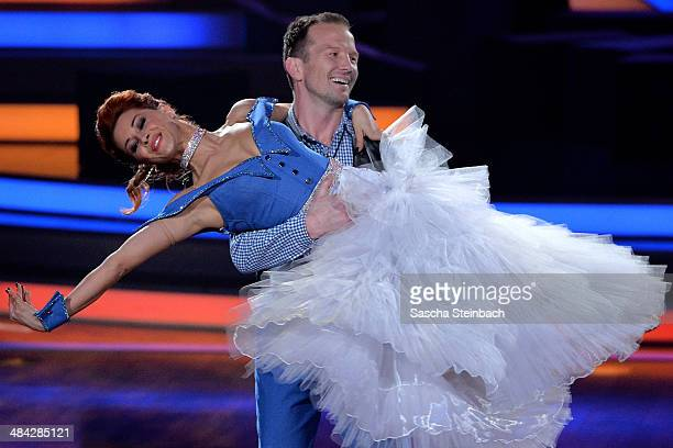 Alexander Leipold and Oana Nechiti attend the 3rd Show of 'Let's Dance' on RTL at Coloneum on April 11 2014 in Cologne Germany