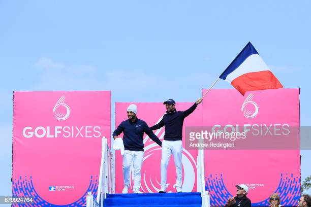 Alexander Levy and Gregory Bourdy of France descend to the 1st tee prior to the quarter final match between Denmark and France during day two of...