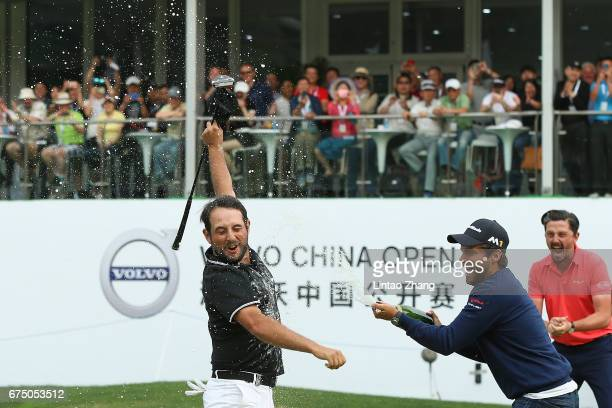 Alexander Levy of France celebrates after winning the 2017 Volvo China Open at Topwin Golf and Country Club on April 30 2017 in Beijing China