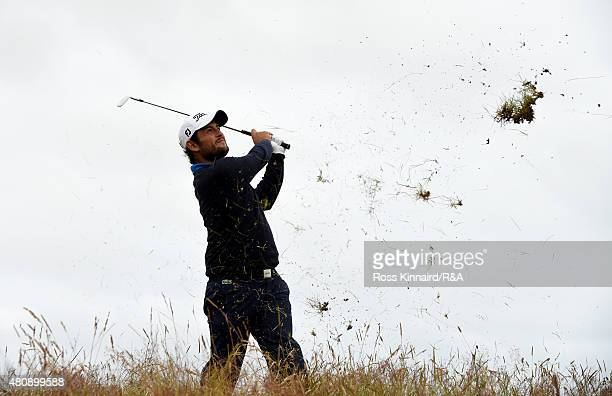 Alexander Levy of France hits his second shot on the 15th hole during the first round of the 144th Open Championship at The Old Course on July 16...