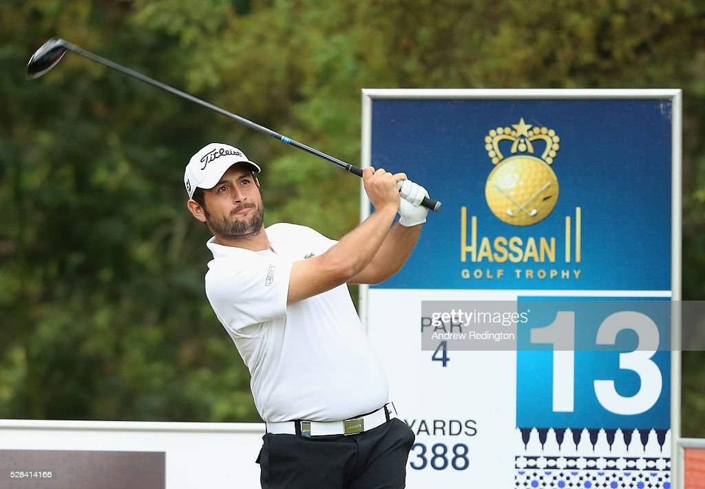 Alexander Levy of France hits his tee-shot on the 13th hole during the first round of the Trophee Hassan II at Royal Golf Dar Es Salam on May 5, 2016 in Rabat, Morocco.