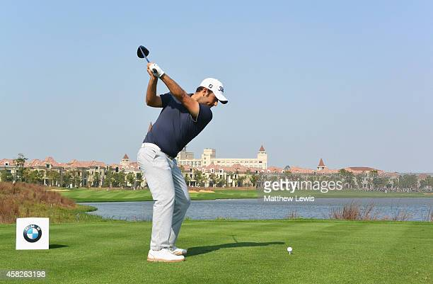 Alexander Levy of France hits his teeshot on the ninth hole during day four of the BMW Masters at Lake Malaren Golf Club on November 2 2014 in...