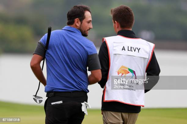Alexander Levy of France looks on during the third round of the Shenzhen International at Genzon Golf Club on April 22 2017 in Shenzhen China