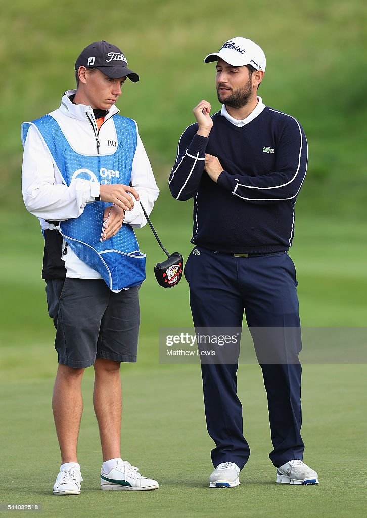 Alexander Levy of France looks on with his caddie Tom Ayling during day two of the 100th Open de France at Le Golf National on July 1, 2016 in Paris, France.