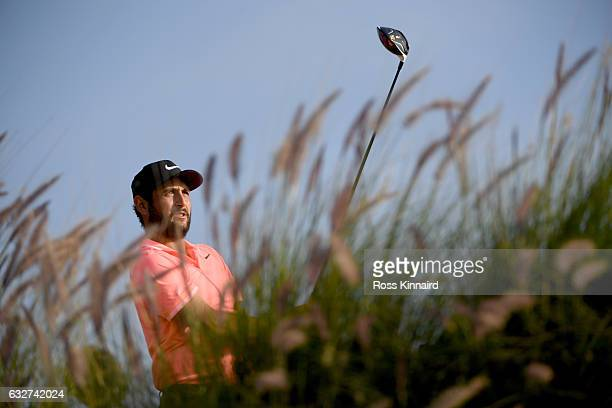 Alexander Levy of France on the 16th tee during the first round of the Commercial Bank Qatar Masters at Doha Golf Club on January 26 2017 in Doha...