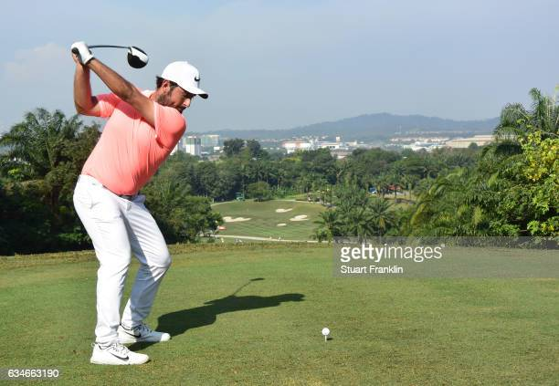 Alexander Levy of France plays a shot during Day Three of the Maybank Championship Malaysia at Saujana Golf Club on February 11 2017 in Kuala Lumpur...
