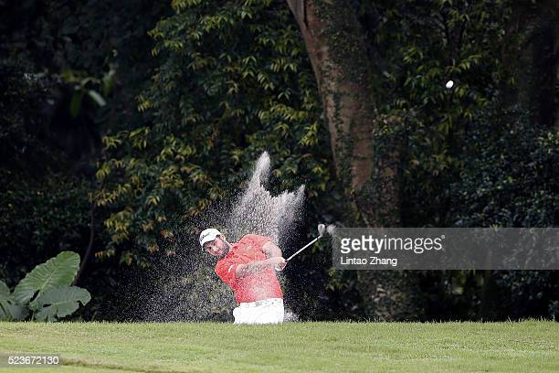 Alexander Levy of France plays a shot during the final round of the Shenzhen International at Genzon Golf Club on April 24 2016 in Shenzhen China